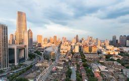 The dusk sunlight shining on modern buildings Royalty Free Stock Photo
