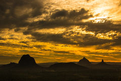 Dusk Sunset. At Glass House Mountains Queensland Australia Stock Photography