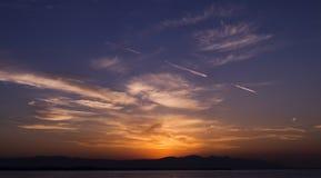 Dusk. Sunset landscape and phosphorescence on sea Stock Image