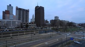 Dusk timelapse of Memphis, Tennessee city center 4K. A Dusk timelapse of Memphis, Tennessee city center 4K stock video footage