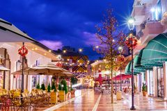 Dusk in Tirana main tourist attraction Royalty Free Stock Photos