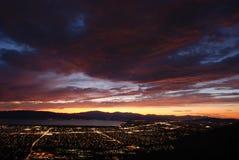 Dusk at Utah Valley. Landscape photo at dusk of the cityscape of Utah Valley, UT Stock Image