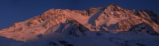 Dusk in val thorens. Panorama Val Thorens mountain with dusk Royalty Free Stock Photo