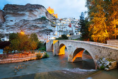 Dusk view of Alcala del Jucar with   bridge. Province of Albacet Royalty Free Stock Image