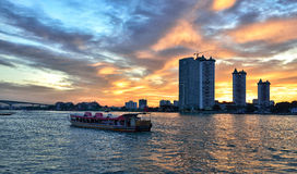 Dusk View of Chao Phraya River Stock Images