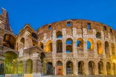 Dusk view of Colosseum in Rome, Italy Royalty Free Stock Photos