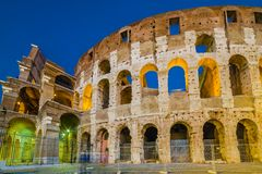 Dusk view of Colosseum in Rome, Italy Stock Photos