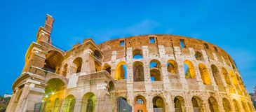 Dusk view of Colosseum in Rome, Italy Stock Photo