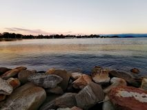 Dusk View in Gosford City Park @ Central Coast, Australia. Ocean, sea, water, rocks royalty free stock images