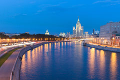 Dusk view of the Kotelnicheskaya Embankment Building, Moscow Royalty Free Stock Photography