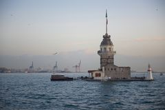 Maiden Tower in Istanbul. Dusk view of Maiden`s Tower in Istanbul on the Bosphorus strait stock photo
