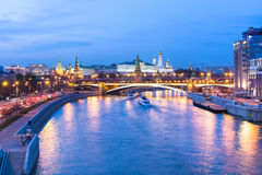Dusk view of the Moscow Kremlin, Russia Royalty Free Stock Photo