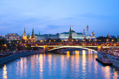 Dusk view of the Moscow Kremlin, Russia Royalty Free Stock Photos