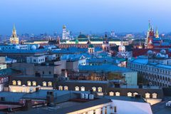 Dusk view over center of Moscow, Russia Stock Photos