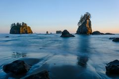 Sea Stacks of Second Beach. A dusk view of sea stacks on Second Beach of La Push in Olympic National Park, Washington, USA royalty free stock images