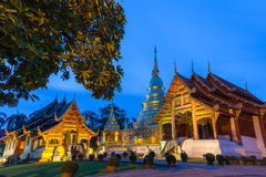 Dusk View of the Wat Phra Singh, Chiang Mai, Thailand Royalty Free Stock Photography
