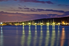 Dusk view of yacht club marina in Sukosan Royalty Free Stock Photo