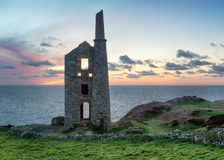 Dusk at Wheal Owles. Dusk over Wheal Owles at Botallack on the Cornish coast Stock Images