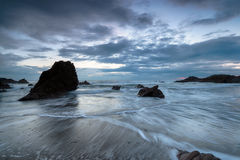 Dusk at Whitsand Bay in Cornwall Stock Images