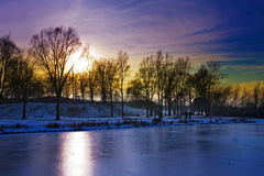 Dusk winter Royalty Free Stock Photography