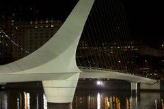 Dusk and Woman Bridge on Puerto Madero neighborghood or disctric Royalty Free Stock Image