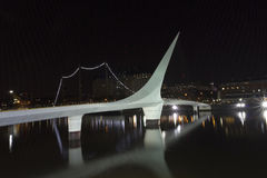 Dusk and Woman Bridge on Puerto Madero neighborghood or disctric Stock Image