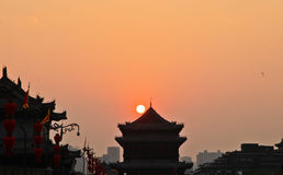 Dusk Xi'an ancient city wall Royalty Free Stock Photography