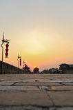 Dusk Xi'an ancient city wall Stock Images