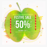 Dussehra Festive Sale Poster, Banner or Flyer. Dussehra Festive Sale with Flat 50% Off, Typographic background with Sona Patta (Golden Leaf), Creative Sale and Stock Photo