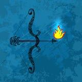 Dussehra Navratri festival i Indien 10-19 Oktober Hinduisk ferie Pilbåge och pil av Lord Rama Brand på spetsen av pilen nigh stock illustrationer