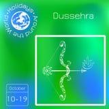 Dussehra Navratri festival i Indien 10-19 Oktober Hinduisk ferie Pilbåge och pil av Lord Rama Seriekalender Ferier runt om t stock illustrationer