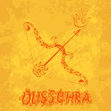 Dussehra, Navratri festival in India. 10-19 October. Hindu holiday. Bow and arrow of Lord Rama. Grunge background. Hand drawing. Dussehra, Navratri festival in stock illustration