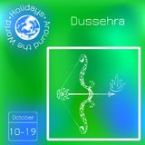 Dussehra, Navratri festival in India. 10-19 October. Hindu holiday. Bow and arrow of Lord Rama. Series calendar. Holidays Around t. Dussehra, Navratri festival stock illustration