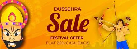 Dussehra sprzedaży chodnikowiec lub sztandaru projekt z 20% cashback ofertą, H Obrazy Stock