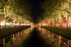 Dusseldorf. I like the river lit by trees. It is peaceful and pleasant in Dusseldorf Royalty Free Stock Image