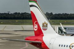 DUSSELDORF, ALEMANHA 3 DE SETEMBRO DE 2017: Airbus A320 Air Berlin no aeroporto de Dusseldorf ao taxiing Fotos de Stock Royalty Free
