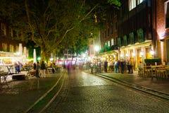 Dusseldorf alla notte Immagini Stock