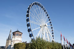 Dusseldorf - big wheel, Schlossturm stock image