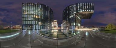 Dusseldorf bij schemer Stock Foto