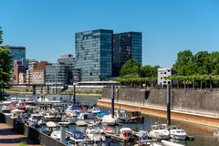 Dusseldorf city cityscape with urban marina Royalty Free Stock Photography