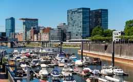 Dusseldorf city cityscape with urban marina Royalty Free Stock Image