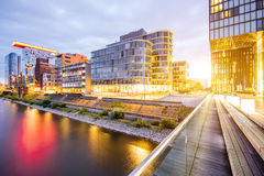 Dusseldorf city in Germany. Night view on the modern financial district with illuminated buildings in Dusseldorf city, Germany stock image