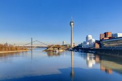 Dusseldorf city harbor at low tide Royalty Free Stock Photo
