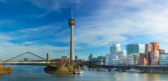 Dusseldorf cityscape with view on media harbor Royalty Free Stock Photography