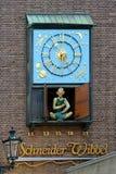 Dusseldorf, Clock with figure of Schneider Wibbel. Dusseldorf, Chiming clock with mechanical figure of Schneider Wibbel - character of urban story, Germany Stock Image