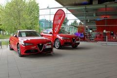 Dusseldorf, Duitsland - Mei 11, 2017: Rode nieuwe Alpha- Romeo Guilia Ve Stock Foto