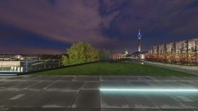 Dusseldorf at dusk. 360 degree panoramic seamless video loop stock video