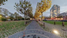 Dusseldorf at dusk. 360 degree panoramic seamless video loop stock video footage