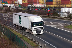 DUSSELDORF ,GERMANY - FEBRUARY 16: transport truck on the highwa Royalty Free Stock Image