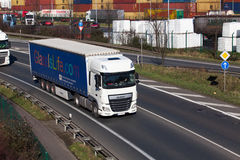 DUSSELDORF ,GERMANY - FEBRUARY 16: transport truck on the highwa Stock Photo